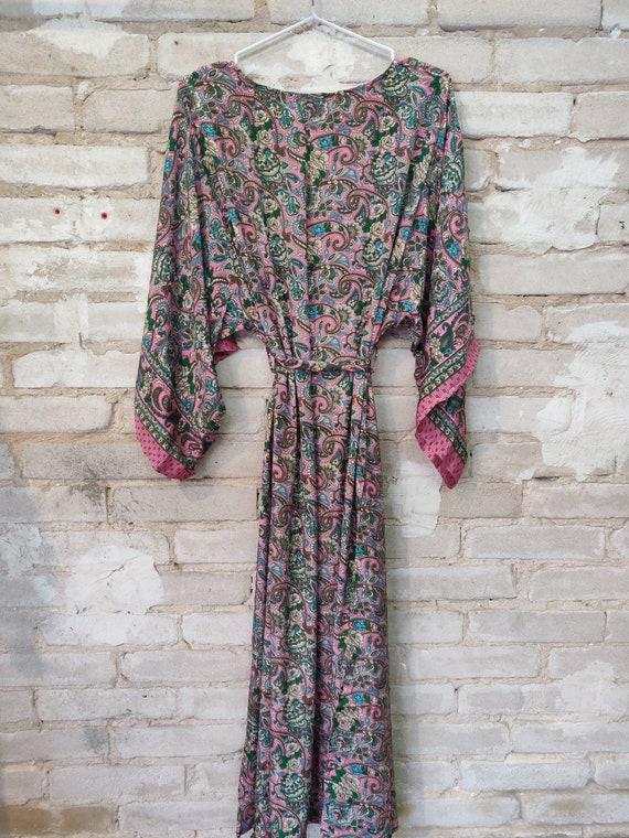 Pink Floral Kimono, Kimono Robe, Dressing Robe