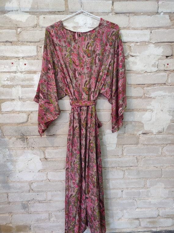 Pink Floral Kimono, Kimono Robe, Dressing Robe - image 1