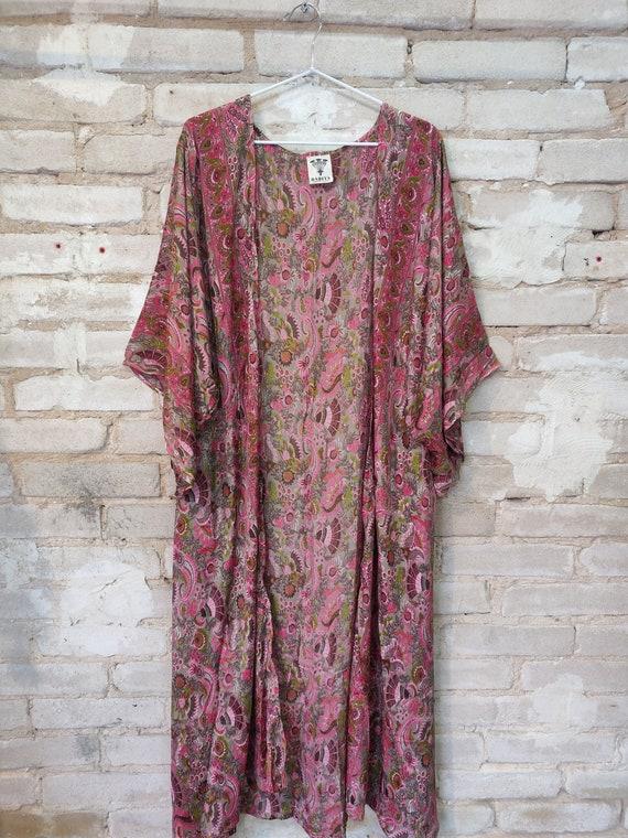Pink Floral Kimono, Kimono Robe, Dressing Robe - image 2