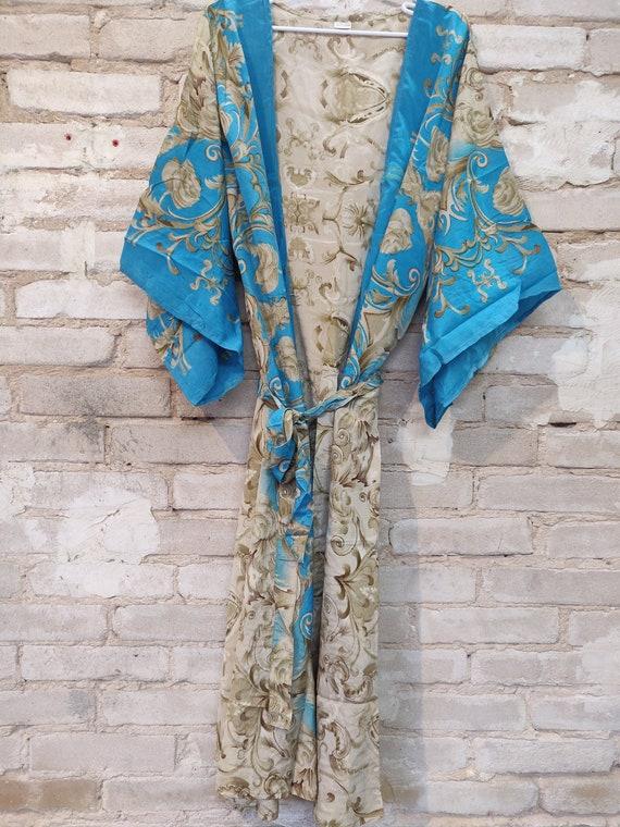 Blue & Beige Floral Kimono, Kimono Robe, Dressing