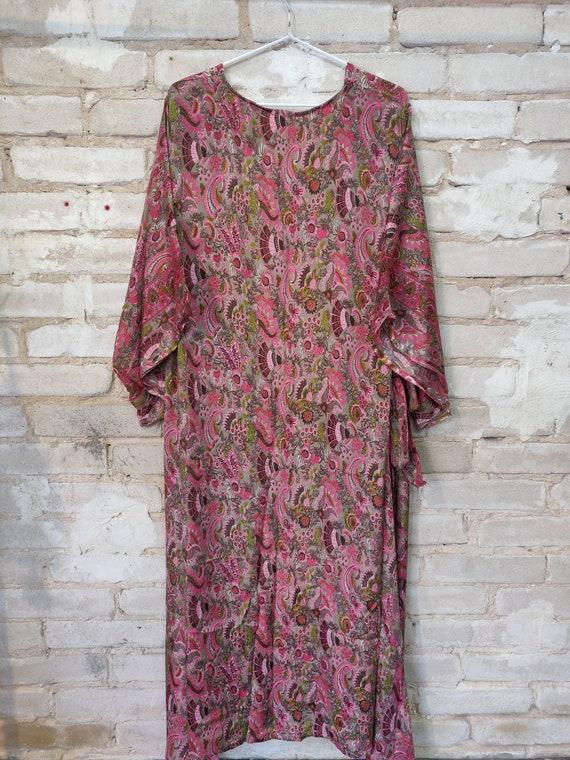 Pink Floral Kimono, Kimono Robe, Dressing Robe - image 4