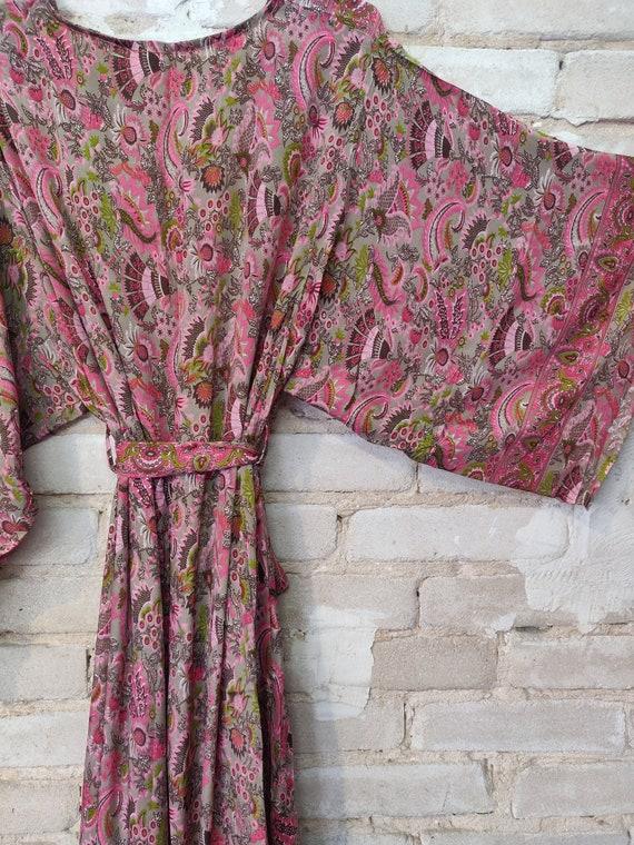 Pink Floral Kimono, Kimono Robe, Dressing Robe - image 6