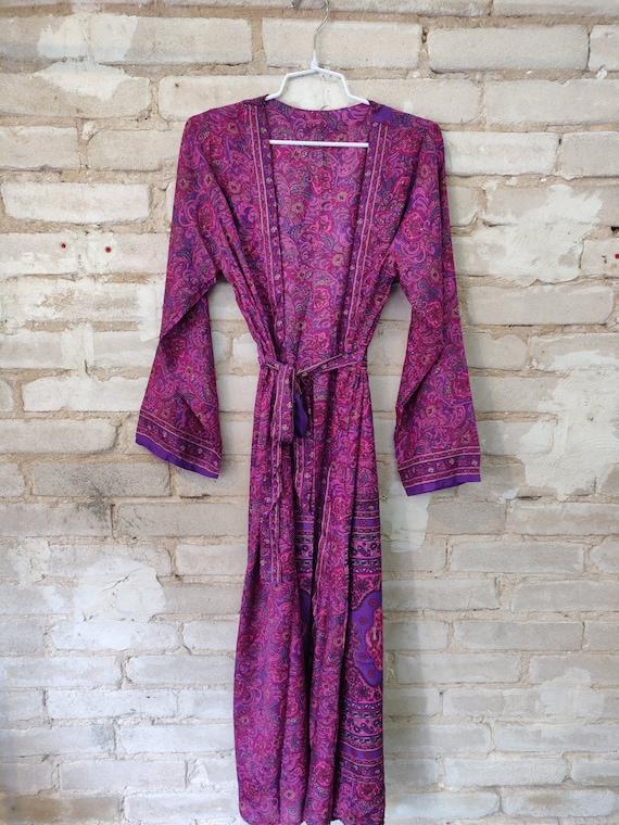 Pink Floral Kimono, Pink Kimono Robe, Dressing Rob