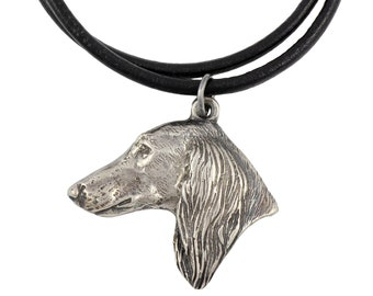 sighthound brooch gift art liitle lion design AzawakhSmooth Saluki sterling silver pendant