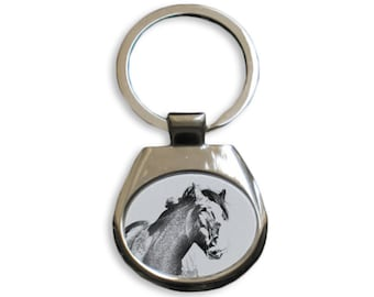 Clydesdale Keyring Metal Key Holder Solid Key Pendant Graphics Keychain with a horse Key ring
