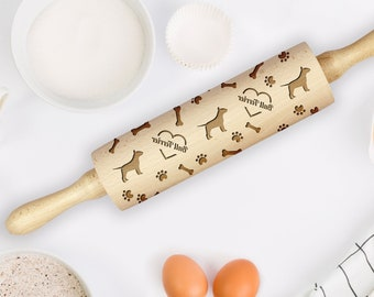 Roller with Your Pattern Embossing Rolling Pin French Bulldog Rolling Pin for Cookies with Dog/'s Head Engraved Rolling-pin