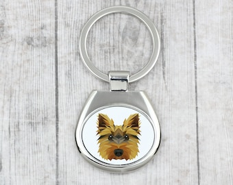 Dog keyring for dog lovers A key pendant with a Yorkshire Terrier dog A new collection with the geometric dog
