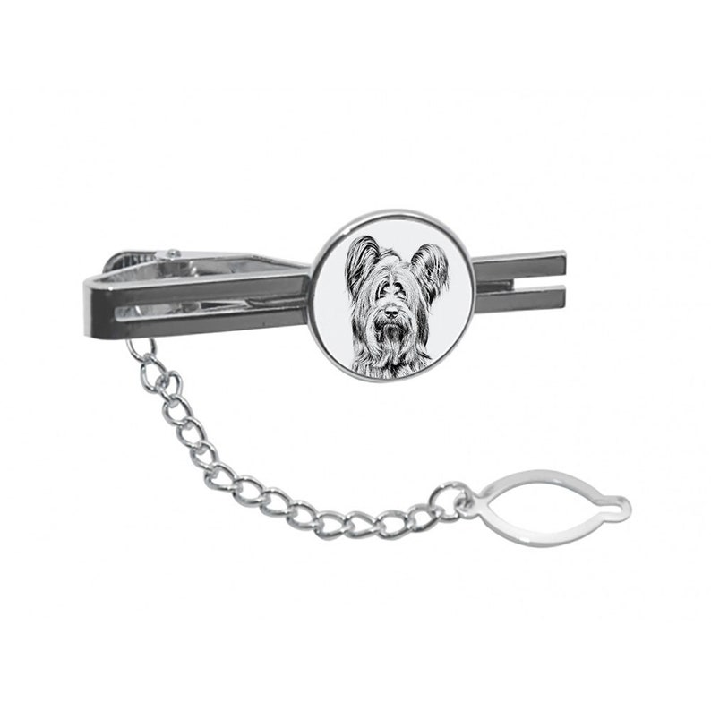Tie clasp with chain Skye Terrier Tie clip with a dog Men Jewelry with dogs Sketch style dog Gift for Men Tieclip with graphics