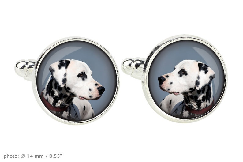 Your photo Handmade Dalmatian Cufflinks with a photo of a dog Customizable men\u2019s jewelry for pet lovers