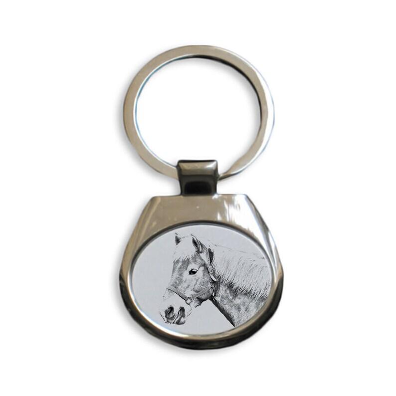 Keychain with a horse Solid Key Pendant Haflinger Fohlen Keyring Key ring Metal Key Holder Graphics