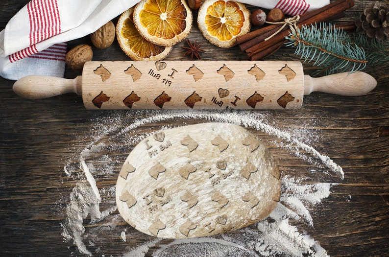 Pit Bull Rolling Pin for Cookies with Dog/'s Head Engraved Rolling-pin Roller with Your Pattern Embossing Rolling Pin