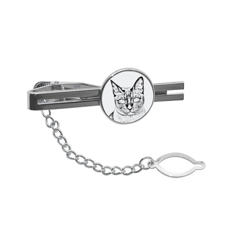 Men Jewelry with cats Tie clasp with chain Tonkinese Cat Tie clip with a cat Gift for Men Tieclip with graphics Sketch style cat