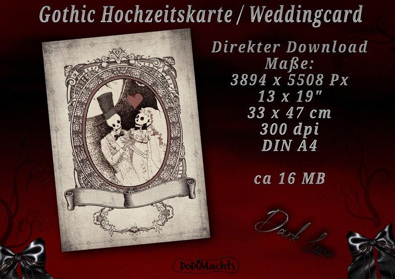 Gothic Wedding Card Alternative Wedding Invitation Creepy image 0