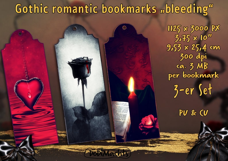 Bookmark Heart Rose Candle Romantic Gothic Style Set with 3 image 0