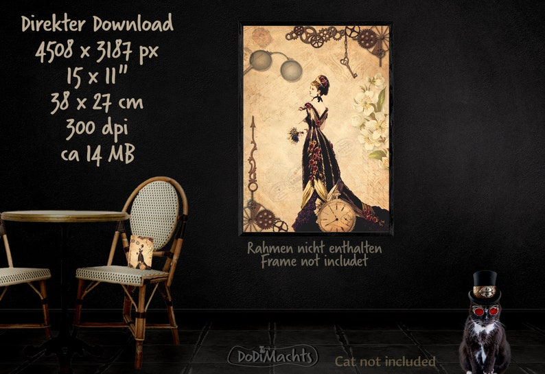 Steampunk Victorian Lady in Festive Robe Fashion Doll image 0