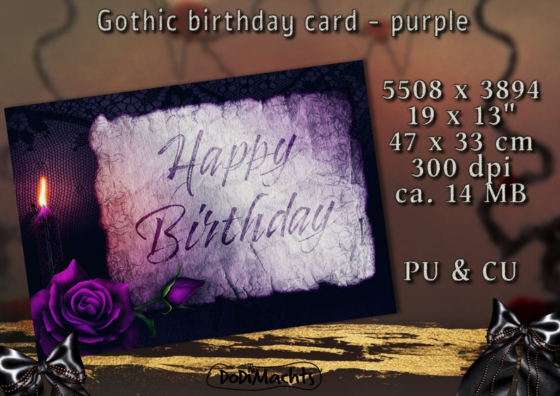 Birthday Greeting Card Romantic Card with Candle and Rose image 0