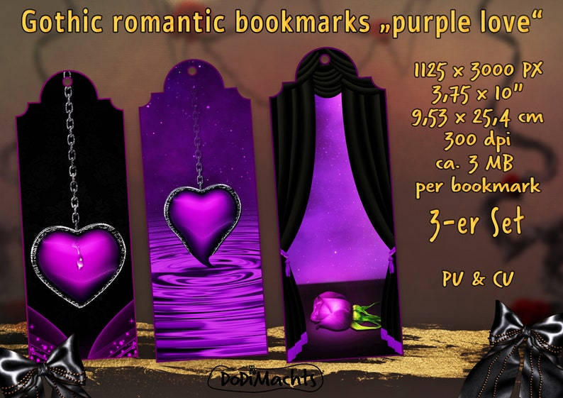 Romantic Bookmark Heart Rose Candle Romantic Gothic Style Set image 0