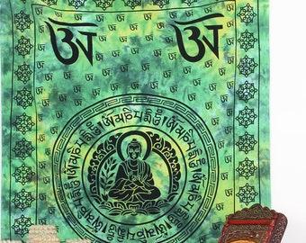 Nouveau om double couvre-lit jeter hippy commerce équitable du bouddhisme hindou nepal ethnique
