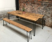 Industrial Scaffold Board Dining Table and two bench set