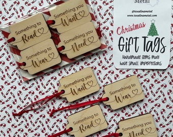 Minimalist Gift Tags, Reusable Wood Gift Tags, Christmas Wood Gift Tags, Something You Want, Something You Need,