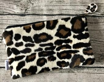 58f3d18aa0 Clutch handbag size purse fluffy leopard print leopardskin
