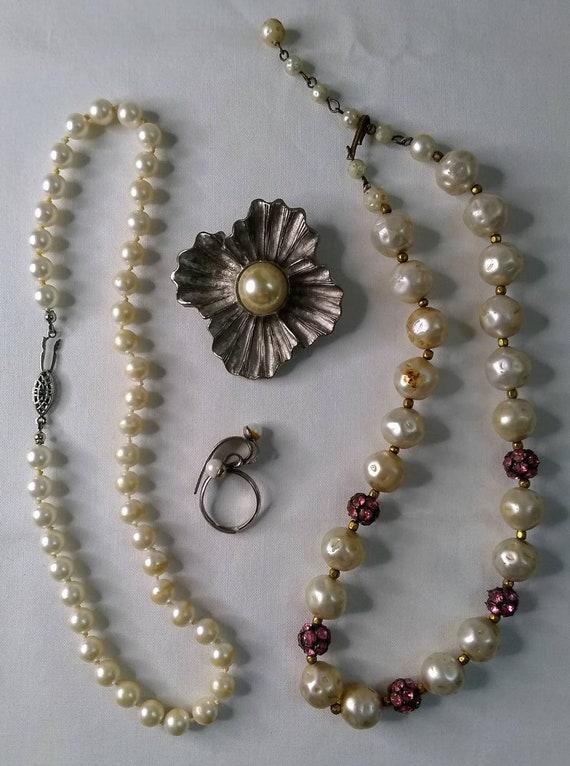 Vintage Mid-century Faux Pearl Jewelry Bundle - 2… - image 2