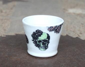 White/Green Skull Pink Rose Shot Glass