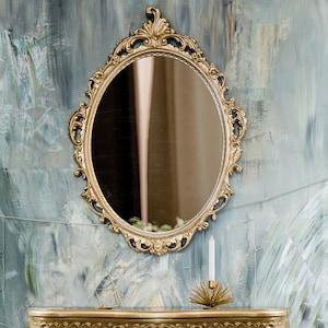 Espejo Rococó de casa de muñecas en miniatura de oro Marco Decorativo