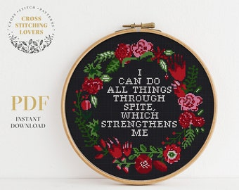 Sarcastic cross stitch pattern, All Things Through Spite, subversive, funny modern embroidery pattern, home decor, instant download PDF