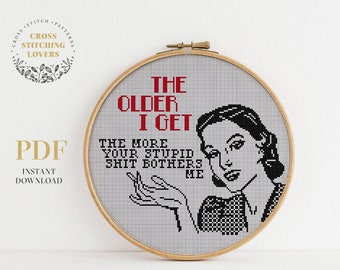 Sarcastic AF cross stitch pattern, Funny retro embroidery design, instant download PDF, vintage girl, home decor
