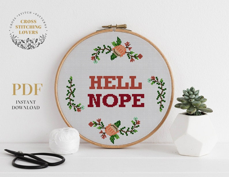 Hell nope easy cross stitch pattern with flower wreath design Funny ironic  and sarcastic text DIY wall decor instant download PDF xstitch