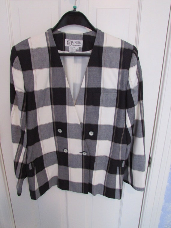 Black and White Checked Women's Pants Suit - Vinta