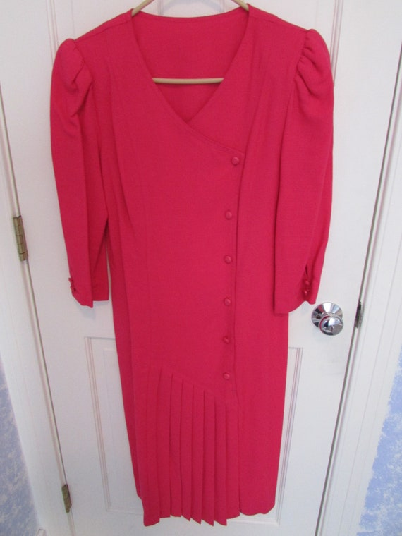 Hot Pink Dress - Vintage 1980s