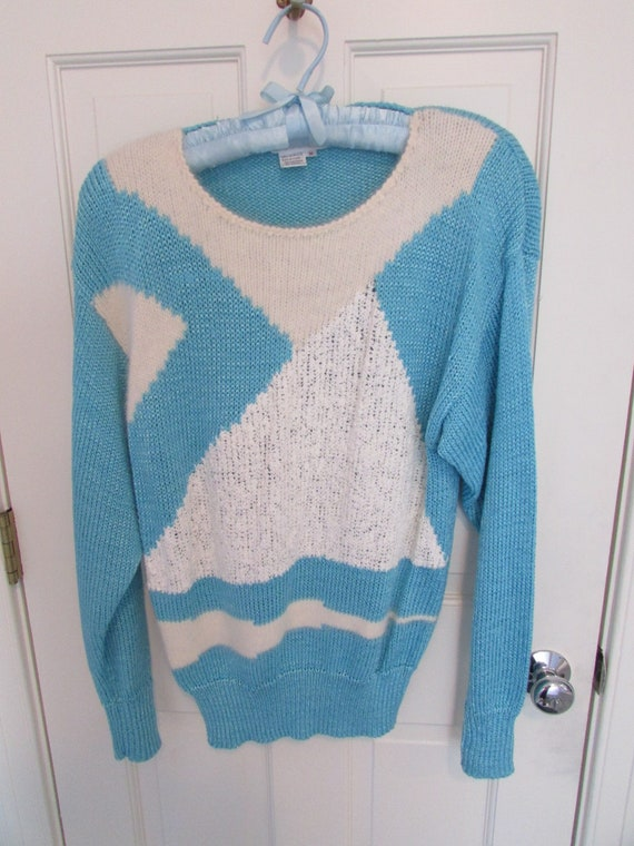 Color Block Light Blue and White Sweater - Vintage