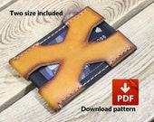 PDF leather wallet template pattern - Pocket wallet X-man Card holder