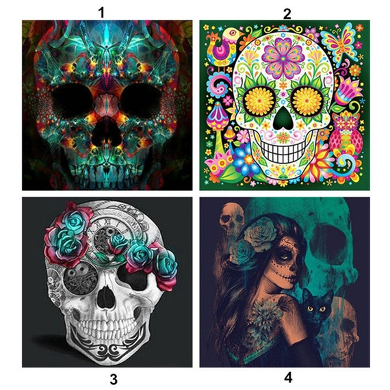 5D Diamond Painting Kit Full Drill Square Beads Sugar Skull Colourful UK Seller