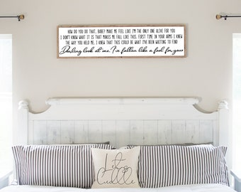 Custom Song Lyrics Sign | Wedding Song Lyric Sign | Master Bedroom Wall Decor | Above Bed Decor | Wedding or Anniversary Gift | Christmas
