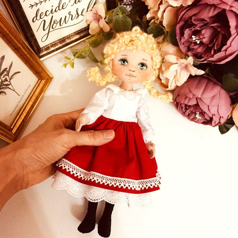 PDF Doll Sewing Pattern Little doll red  vintage style instant download  cloth doll pattern