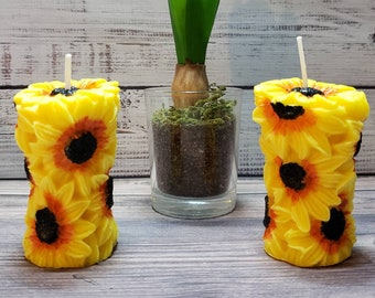 Little Sunflower Pillar (3 inches tall. 1.5 inches wide) Set of 2 / Fall / Halloween / Thanksgiving