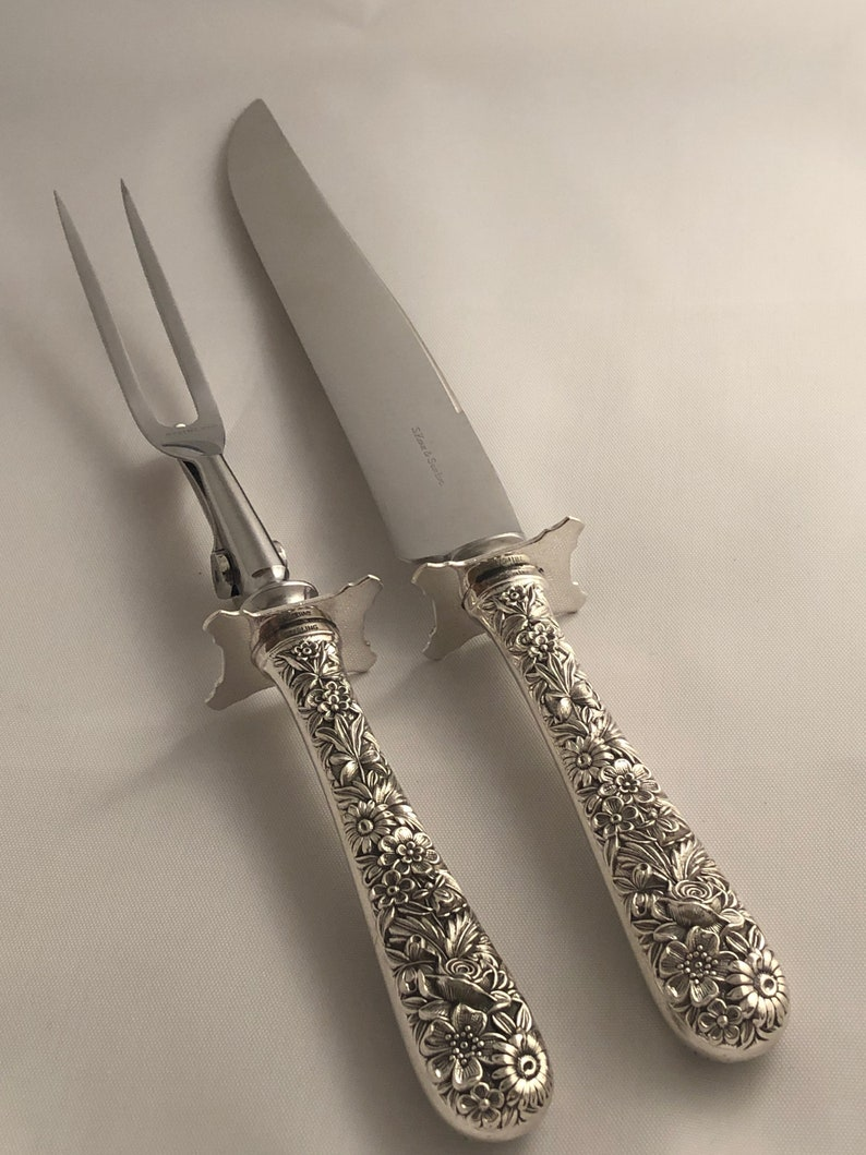 """Rose by Stieff Sterling Silver Steak Carving Set 2-piece 9 3//4/"""""""