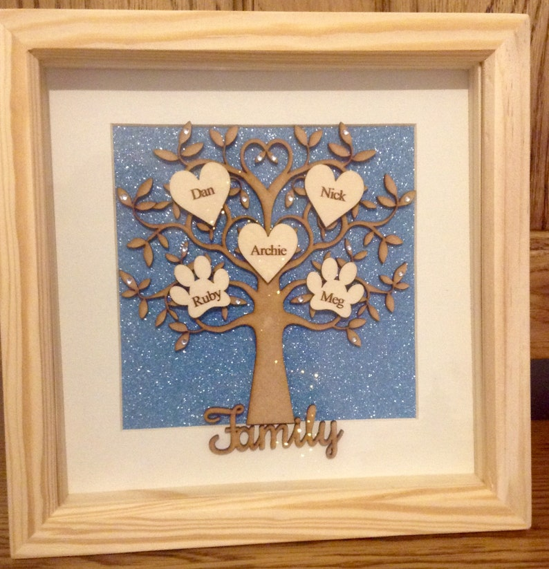 STUNNING FAMILY TREE 3 names  Engraved writing x