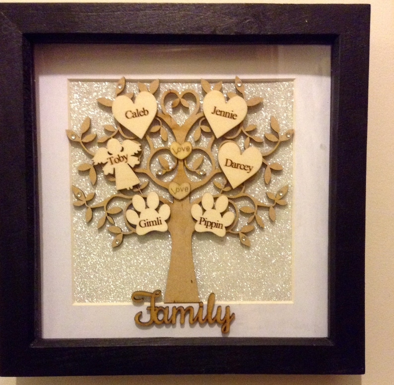 STUNNING FAMILY TREE 6 names  Engraved writing x