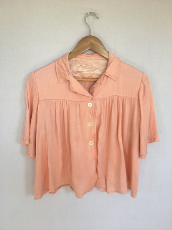50s satin blouse - image 2