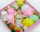 Handmade soap set of martini bottle, macarons, marshmallows, roses, a bear w strawberry, champagne, vanilla fragrance oil in the gift box