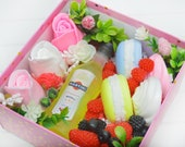 Handmade soap set of fruits, roses, marshmallows, macarons, bottle of martini w strawberry, champagne, black rasberry, vanilla fragrance oil
