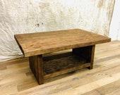 Reclaimed Solid Wood Coffee Side Table Chunky Dark Oak