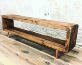 Copper Reclaimed Solid Wood TV Stand Unit Chunky Dark Oak