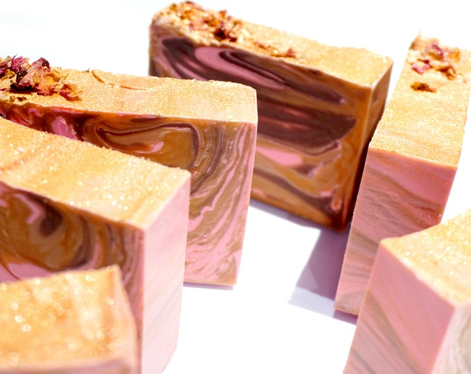 LILASUDS: Rose gold cold process coconut, candy apple, raspberry, rose, musk and amber handmade artisan soap