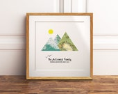 Custom Mountain Adventure Map Print, DIGITAL DOWNLOAD Available, Friendship, Family, Outdoors Travel Gift, Anniversary Wedding Retirement