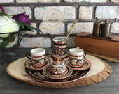 Turkish Coffee Set, Traditional Turkish Coffee Cups and Copper Coffee Pot, Unique Home Decor